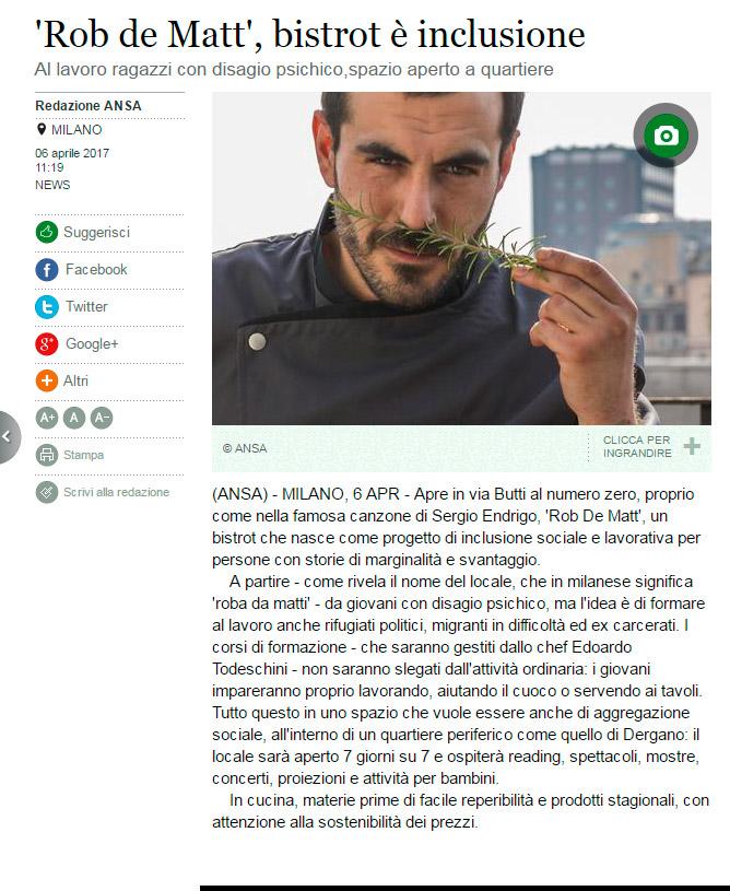ANSA: 'Rob de Matt', bistrot è inclusione