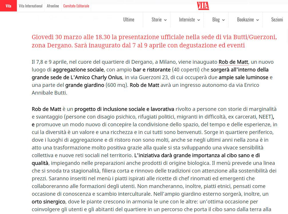VITA: Rob de Matt, apre a Milano il bistrot che unisce qualità e inclusione sociale